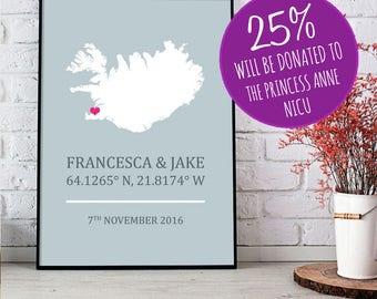 Iceland Personalised Engagement Wedding Print - Icelandic 8x10 inches