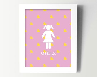 Little Girls Bathroom Sign - Kids Bathroom Wall Art - Kids Bath Decor - Girl Restroom Decor - Rubber Ducky Bathroom - Fun Bathroom Prints