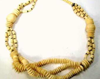 Creamy OxBone Bead TRIBAL Necklace, Mutlistrand Bovine Bone Elegant BEACH Classic Beads, Boho Woodstock Era, 1970s,  Metal Spacers