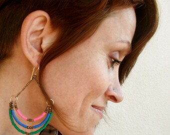 Recycled Vinyl-Chandelier-Hoop Earrings / Free US Shipping