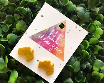Australian Map Glitter Gold Stud Earrings. Aussie Earrings. Australia. Fun and Fabulous Earrings. Life's to short to wear boring Jewellery!!