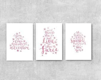 Girls Room Decor, Pink Nursery Print Set, Baby Girl Nursery Wall Art, Watercolour Art, Set Of 3 Prints, Nursery Print Set, Little But Fierce