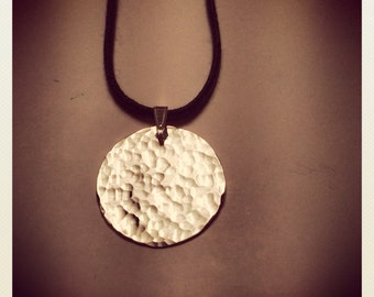 LARGE WATER hammered recycled sterling silver pendant necklace