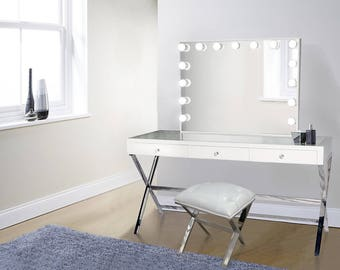 Glamorous White Makeup Vanity Set Includes Glam Hollywood Mirror W/ Dimmer  + Makeup Table And Faux Leather Chair