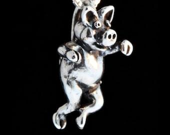 Three Little Pigs Charm Left Jig Pig Charm Silver Pig Charm Pendant Animal Charm Pig Jewelry Pig Silver Pig Charm Sterling Silver Necklace