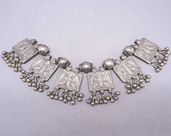 Antique silver necklace elements. Rjasthan, India. Tribal, ethnic jewelry