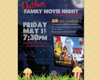 Outdoor Movie Night Flyer / Movie On The Green Poster / Template Church  School Community Lawn