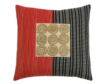 "Red Alchemy ""Lucky 9""  Modern Decorative Pillow 17 x 17 inches"