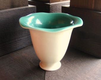 Rookwood Pottery Vase, Matte Ivory and Blue Green, Circa 1928, Vintage American Art Pottery
