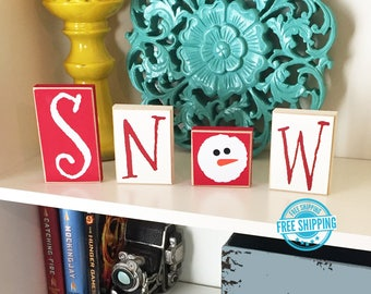 Snow Blocks- Snowman Decor - Christmas Decor - Christmas Decoration - Wood Snowman - Snowman Decoration - Christmas Sign - Snow Sign