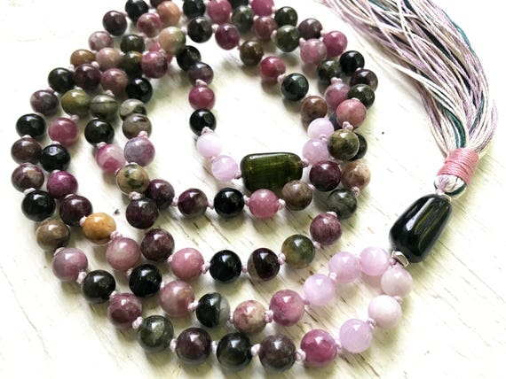 Tourmaline Mala Beads, Kunzite, Heart Chakra Mala, Tourmaline Tassel Necklace, October Birthstone, Healing Mala, Meditation Yoga Jewelry