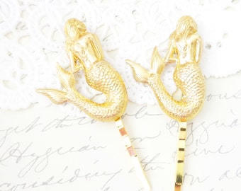 Gold Mermaid Hair Pins - Mermaid Bobby Pin Set - Beach Hair - Wedding Hair Accessory - Bridal Hair - Mystical Mermaid