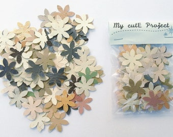 Confettis flower  100 Flowers - Scrapbooking - Party confetti - wedding confettis - wedding flower  upcycling confettis  - die cut flower A1