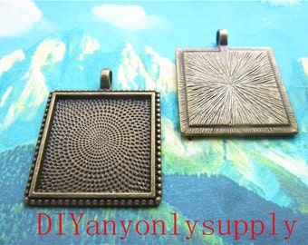 30pcs 25x25mm(cabochon size)filigree square cabochon bezel trays/pendant blank/picture frame charms findings