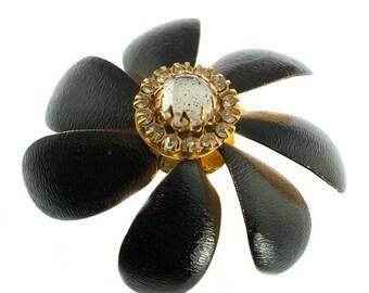 Sandor Black Flower Pin