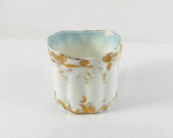 Vintage Porcelain White & Gold Tooth Pick Holder