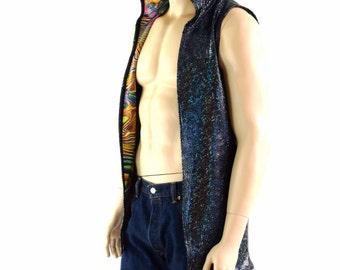 Mens Open Front Hooded Vest in Black on Black Shattered Glass & Tropical Swirl Print Rave Festival Apparel 152391