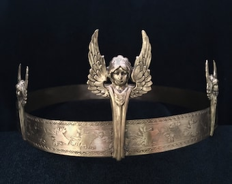 Three Winged Goddesses on Brass Stamped Circlet Headpiece Crown