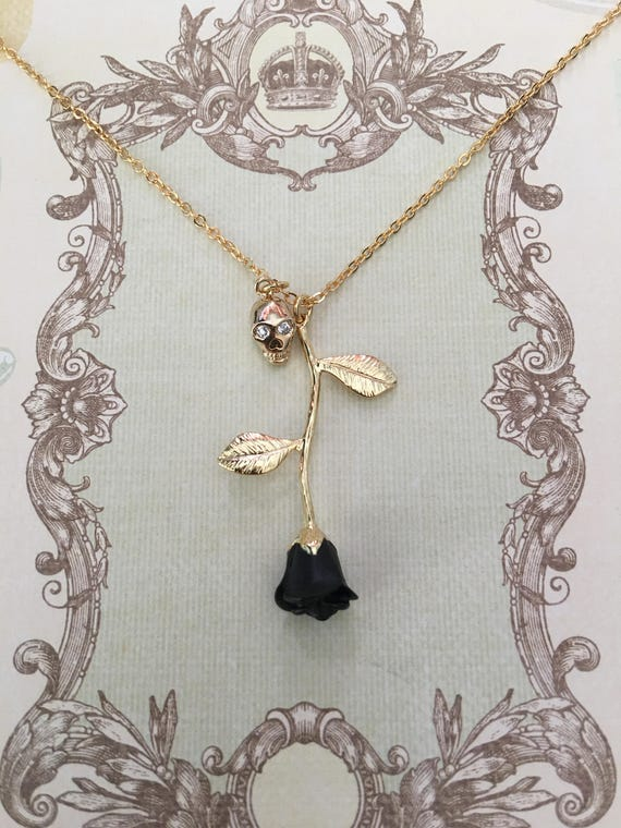 Black rose black rose necklace skull pendant halloween aloadofball Choice Image