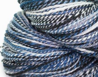 Midnight - 420 yards handspun 2 ply super wash merino yarn dk weight blue black grey white yarn