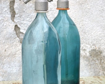 Aqua Blue Glass Bottles, Soda Seltzer Siphon Bottles, Vintage Soda Siphon Bottles, Vintage Seltzer Bottles, Old Glass Bottles