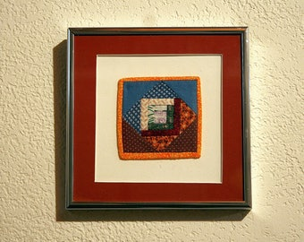 Southwest Desert Patchwork Textile Creation--Mini Quilting--Framed--Home Decor--Wall Hanging--Shipping Included