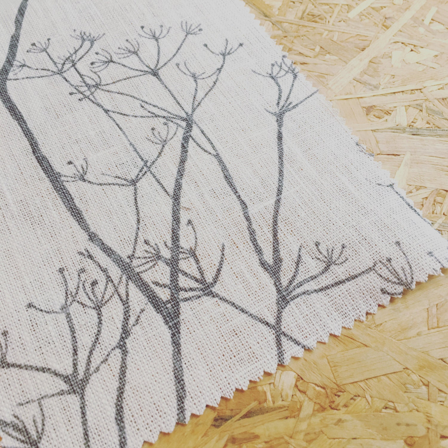 Cow Parsley Fabric Grey Linen Fabric Curtain Fabric Tree