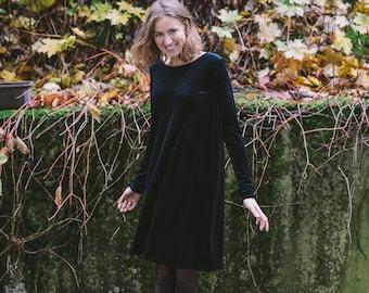 Women's velvet dress, Little black dress for women, Cosy evening dress, Autumn dress, Spring dress, Short classic dress, Long sleeve dress