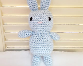 Blue Bunny Rabbit Stuffed Animal Crochet Toy/ Bunnies/Rabbits/ Amigurumi Plush Doll/ Handmade Toys/ Easter Bunny/ Gift For Kids