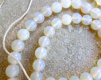 "5mm Warm-White Opal Beads - 16"" Strand of 5 mm Round Translucent White Australian Opal Beads With Warm Gold Undertone - Jewelry Supplies"