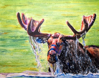 Watercolor on canvas, Moose watercolor, moose canvas, wildlife canvas, wildlife watercolor, moose painting, wildlife painting, wildlife art