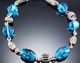Vintage Sterling Silver Bracelet Blue Glass Beads Estate Jewelry