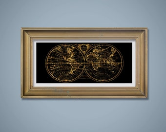 10x20 Gold Faux Foil on Black World Hemispheres Map, Map Wall Art, Printable Art, Digital Download, Black and Gold Map, Classy Home Decor