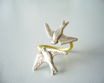 silver bird ring, adjustable ring, animal ring, silver ring, statement ring