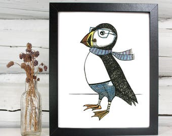 Distinguished Puffin illustration print