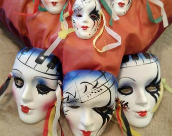 Set of 6 Musical Themed Ceramic Masks