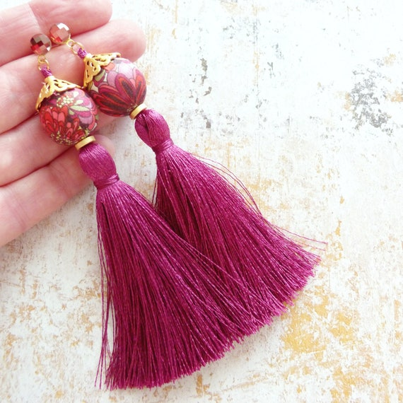Tassel earrings,Hot pink earrings,Long earrings,Silk tassel earrings,Luxurious earrings,Statement earrings,Tassel jewelry,Boho chic earrings
