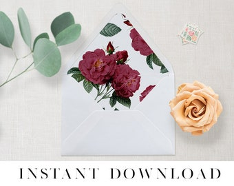 Printable Envelope Liner INSTANT DOWNLOAD, 11 Sizes, Liner template, Envelope Liners, diy Envelope Liner, A7 Liner, Square, Euro, BURGUNDY