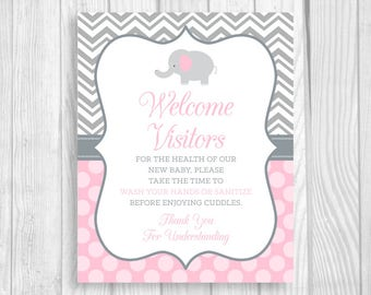 SALE Please Wash Your Hands Printable 8x10 Meet and Greet Baby, Hospital Door Sign Elephant in Light Pink and Gray - Hand Sanitizer Sign