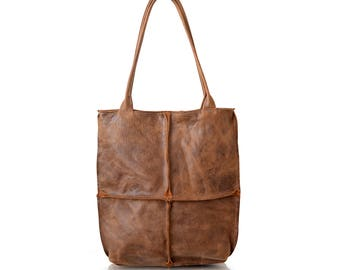 Brown Leather Tote, Simple Leather Tote,Durable Leather Shoulder Bag,Leather Work Tote,Large Leather Tote,Distressed Leather Tote