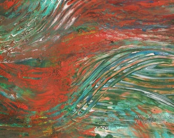 Burnt Orange and Turquoise Textured Abstract Flowing Original Art
