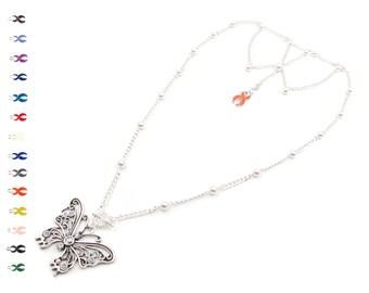 Merry Meringue - Pearl Pendant Necklace - Silver Necklace - Butterfly Necklace - Inspirational Necklaces