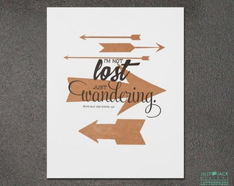 Travel Art, Wall Decor, Wall Art, Arrow Art Print, Just Wandering Arrow Letterpress Art Print, JJD_LP_ARWP