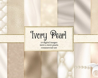Ivory Pearl Digital Paper, white pearl backgrounds, pearl textures instant download printable scrapbook paper, string strand pearls necklace