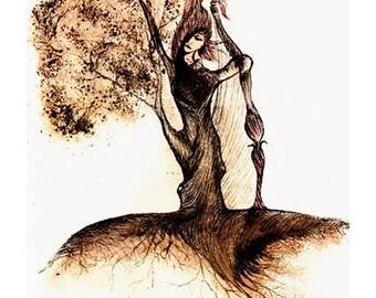 Tree Spirit - Original Painting Drawing Print, Home Decor, Wall Art, Wall Decor, Hand Painted Art Print, Home Decoration, UNUSUAL