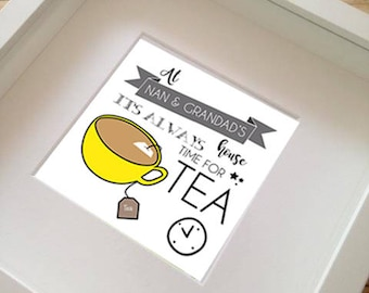 "FRAMED at ""my"" house its always time for tea print  by Rachael Partis Design"