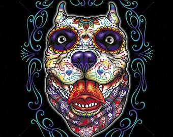Pit Bull Sugar Skull Day of the Dead WOMENS Short Sleeve T Shirt  17047