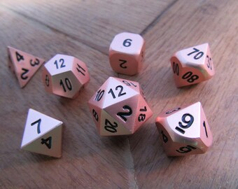 DND Dice Set - Rose Gold - dnd gift ideas Metal Dice rpg d&d dice d20 RPG Role Playing Dice set of Dice Envy