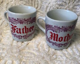 Vintage Mother and Father Mug Set