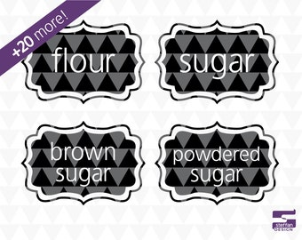 Kitchen & Pantry Labels - printable kitchen labels, printable pantry labels, kitchen svg, pantry svg